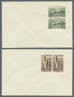Luxemburg: 1948, Freimarkenausgabe Landschaften, Ganzer Satz Jeweils Als Paar Auf Einzelnen Blanko-F - Briefe U. Dokumente