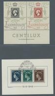 Luxemburg: 1949-1952, Block 30 Jahre Regierungsjubiläum, Tadellos Mit Sonderstempel, Centilux-Ausste - Briefe U. Dokumente