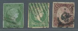 Spanien: 1855-1865, Partie Von 3 Gestempelten Werten In Unterschiedlicher Erhaltung Mit Mi.Nr. 31, 3 - Gebraucht