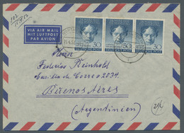 """Berlin: 1952, """"Beethoven"""" 30 Pfennig Dunkelblau Im Waagerechtem Gefaltetem Dreierstreifen Entwertet - Cartas"""