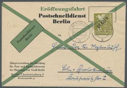 """Berlin - Postschnelldienst: 1949, Schwarzaufdruck 1 Mark Entwertet """"(1) BERLIN SW 11 A 01.3.49 8.30"""" - Cartas"""