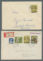 Berlin: 1951-1957, Partie Von 13 Belegen Mit U.a. Diversen Glockenwerten, Einschreiben, Einzelfranka - Cartas