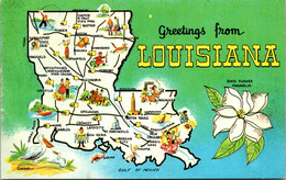 Louisiana Greetings With Map And State Flower - Other