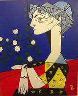Tableau , Madame  Z Dit Jaqueline Aux Fleurs - Acrilicos