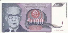 YOUGOSLAVIE 5000 DINARA 1991 UNC P 111 - Yugoslavia