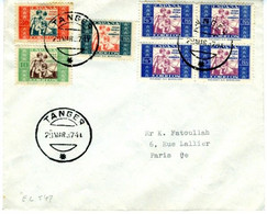 TANGER 1937 Lettre Avec Timbres De Bienfaisance HOGAR ESCUELA EL547 - Beneficiencia (Sellos De)