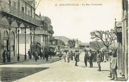 Algerie Skikda Philippeville La Rue Nationale Belle Anmation - Skikda (Philippeville)