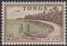 Tonga 1953 MH Sc #110 2sh Outrigger Canoe On Lifuka Beach, Airplane - Tonga (...-1970)