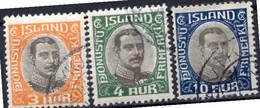 ISLANDE (Dépendance Danoise) - 1920-30 - Service - N° 33 à 36 - (Lot De 3 Valeurs Différentes) - Unclassified