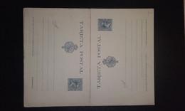 España 1890 Entero Postal Nº 28** -15 Céntimos Con Respuesta Pagada -Pequeña Separación Entre Las Dos Tarjetas - 1850-1931