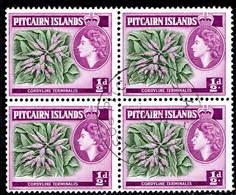 Pitcairn Islands 1957-63 ½d Green And Reddish-purple Block Of 4 Fine Used. - Pitcairn Islands