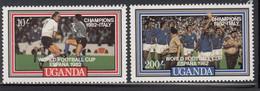 1982 Uganda World Cup Football Italy Winners  Complete Set Of 2  MNH - Uganda (1962-...)
