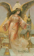 Christmas Card . Cupid Flying  . Embossed . Ange Volant  . Etoile . Noel . Gaufrée - Autres