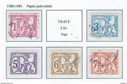 COB  TX66 + 68 + 69 + 70 + 71  Papier Polyvalent  (USED) - Briefmarken