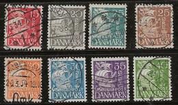 Danemark 1933-1940 N° Y&T :  214 à  221 (type I) Obl. - Usado