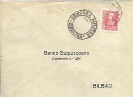 CARTA 1937  CENSURA GRANADA  VIÑETA - Marques De Censures Nationalistes