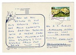 Ref 1471 - 1991 Postcard - Waterfall - El Serrat Andorra - 25p Rate To Clacton Essex UK - Andorra