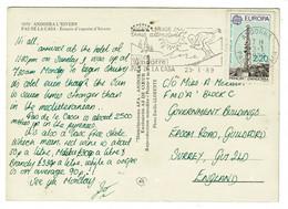 Ref 1471 - 1989 Postcard - 2f20 Rate Andorra Pas De La Casa To Guildford UK - Skiing Slogan - Andorra