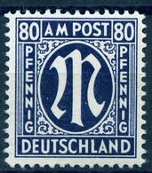 """Deutschland Nach 1945 AM-Post """" Deutscher Druck 80Pf Blau Gez 11 1/2  """" Michel ~35 € - American,British And Russian Zone"""
