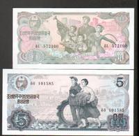 Coree, Korea, 2 Billets De 1 Et 5 Won - Korea, South