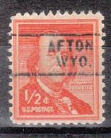 USA Precancel Vorausentwertung Preo, Locals Wyoming, Afton 729 - Voorafgestempeld