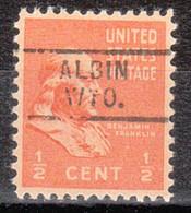 USA Precancel Vorausentwertung Preo, Locals Wyoming, Albin 729 - Voorafgestempeld
