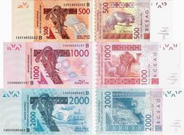 Benin - West African States Set 3 Pcs. 500+1000+2000 Francs - Pick 215B-219B UNC Letter B - Benin