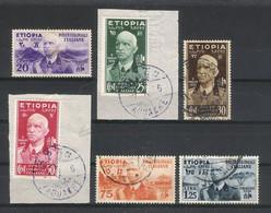 ETIOPIA  ( ETHIOPIE, Occupation Italienne ) /  Y. & T.  N° 2 à 7  ( 6 Timbres, Dont 2 Sur Fragment Avec Cachet AOUACHE ) - Ethiopia