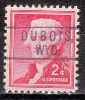 USA Precancel Vorausentwertung Preo, Locals Wyoming, Dubois 801 - Voorafgestempeld