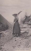 Evolene Lady Swiss Switzerland Farming With Rake Costume Antique Postcard - Zonder Classificatie