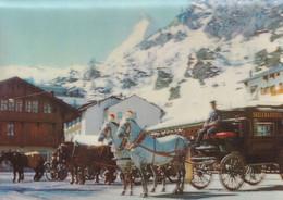 Zermatt Switzerland Bahnhofplatz 3D Three Dimensional Postcard - Zonder Classificatie