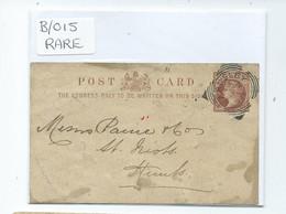 Postal History Prepaid Cover With Barnsley Apparently Rare Squared Circle Hole Through Card No Backstamp - Briefe U. Dokumente
