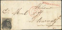 N°1 - Epaulette 10 Centimes Brune, Voisin à Gauche, Obl. P.7 Sur Lettre D'ATHle 26 Novembre 1850 + Griffe RougeAPRES L - 1849 Epaulettes