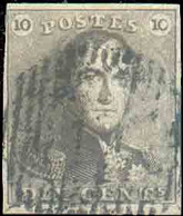 N°1 - Epaulette 10 Centimes Brune, TB Margée, Obl. D.11CHAUDFONTAINEcentrale Et Droite Laissant L'effigie Dégagée. N. - 1849 Epaulettes