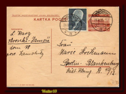 1938 Poland Polen Polska Stationery Card Posted Wronki Zamosc To Germany Ganzsache Kartka - Briefe U. Dokumente