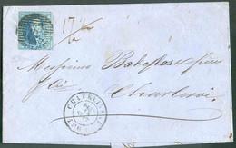 N°11A - Médaillon 20 Centimes Bleu, TB Margé Et Voisin, Obl. P.26 S/L. DeCHATELINEAUle 18 Sept. 1860 En Double Port (m - 1858-1862 Medaillen (9/12)