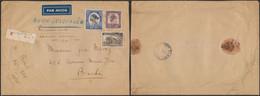 Congo Belge - N°231, 247 Et 258 Sur Grande Env. En Recommandé De Albertville Par Avion Jusqu'a Léo > Binche - 1923-44: Covers
