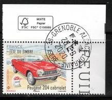 France 2020. Fête Du Timbre. Peugeot 204 Cabriolet.Cachet Rond.Gomme D'origine. - Gebraucht