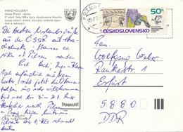Tschechoslowakei Mi. 1919 Mathematik Und Physik Landvermessung TGST 1987 Postkarte Nach DDR - Cartas