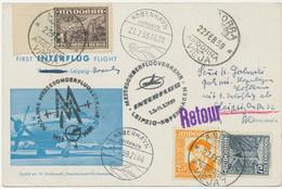 ANDORRA / DDR 1959 Extrem Selt. Mitläuferpost M INTERFLUG Messesonderflug KOPENHAGEN-LEIPZIG, Eventuell UNIKAT!! - Cartas