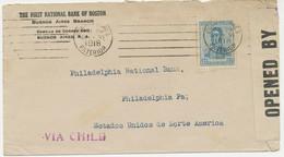"""ARGENTINA 1918 12 C San Martin VF Censor Cover To USA W. Viol. Line """"VIA CHILE"""" - Cartas"""