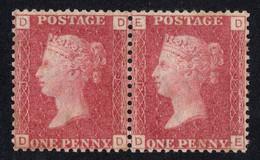 Timbres Grande Bretagne Paire 1 Penny Rouge Dentelé Reine Victoria Plate 91 SG43 - Unused Stamps
