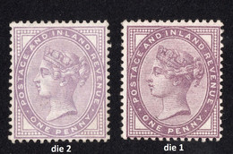 Timbres Neufs Grande Bretagne Paire 1 Penny Lilas Violet Dentelé Reine Victoria 14 Et 16 Points SG170 SG172 - Unused Stamps