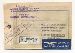 Label - étiquette Espagne - Par Avion - Recommandée Madrid Vers CEPT Bruxelles - Verso Sceau AC - Cartas