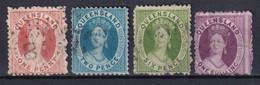 AUSTRALIE / QUEENSLAND - 1869 - YVERT N°30+31+33+34 OBLITERES - FILIGRANE Q - COTE = 28 EUR. - Gebraucht