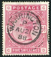 Timbre Grande Bretagne Reine Victoria 5 Shilling Rose SG180 Filigrane Ancre - Used Stamps