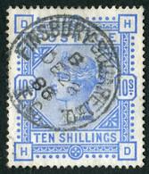 Timbre Grande Bretagne Reine Victoria 10 Shilling  Bleu Outremer SG183 Filigrane Ancre - Used Stamps