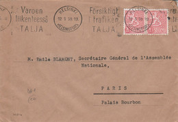 FINLANDE AFFRANCHISSEMENT COMPOSE SUR LETTRE POUR LA FRANCE 1959 - Cartas