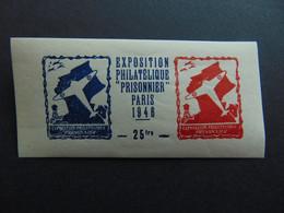 Magnifique Et Rare Vignette Gommée De L'exposition Philatélique De 1946 Consacrée Aux Prisonniers De Guerre - Expositions Philatéliques