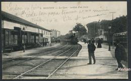 """Menton - La Gare - Arrivée D'un Train - N° 6 - Edition Spéciale """"Aux Dames De France"""" - Voir 2 Scans - Menton"""